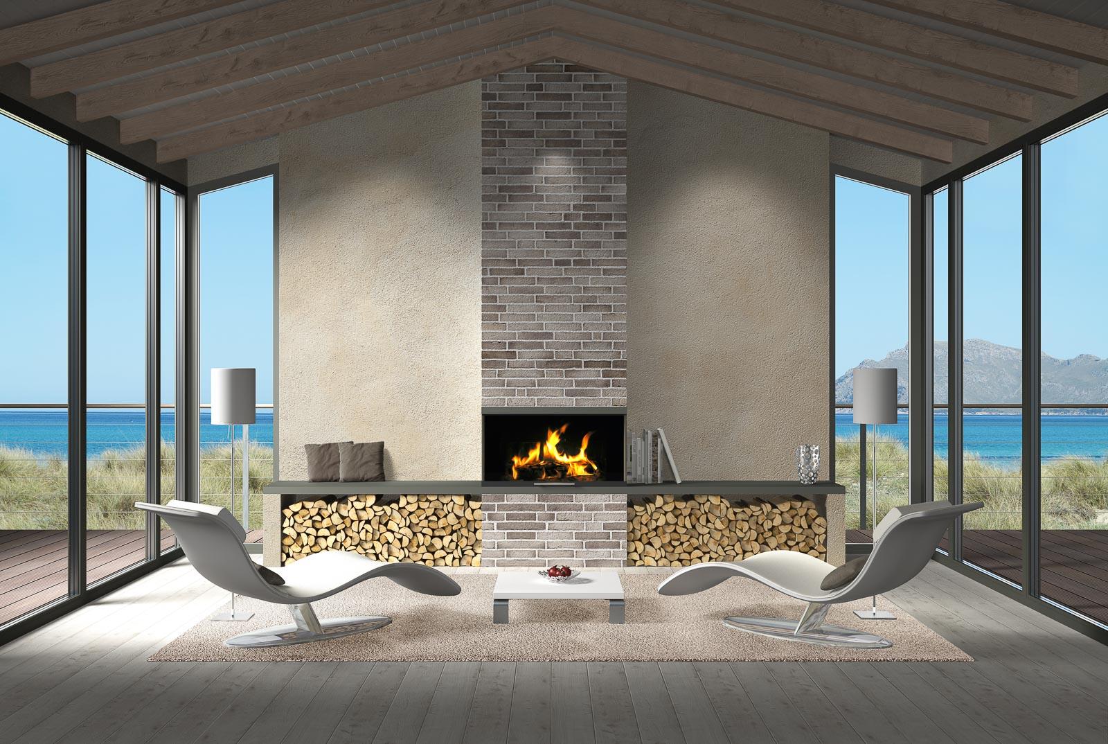 Modernes Wohnzimmer mit offenem Kamin